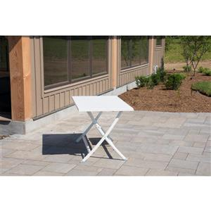 Vivere Brunch Aluminum Folding Table - White