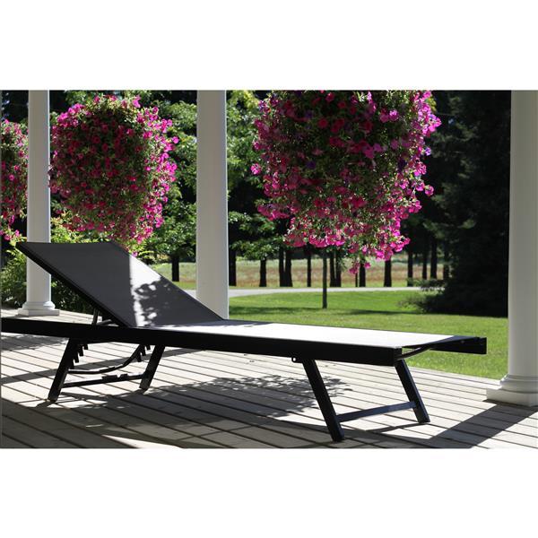 Chaise longue urbain en aluminium, Noirchrome