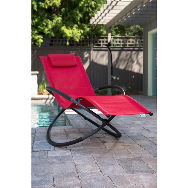 Chaise longue orbital Vivere simple, Rouge cerise