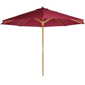 Parasol pour le patio en teck, Rouge, 10'