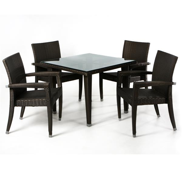 All Things Cedar Rattan Dining Set - Brown