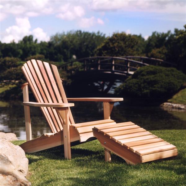 Chaise Adirondack avec Ottoman, Cèdre naturel