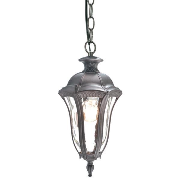 Luminaire extérieur suspendu, verre martelé, bronze
