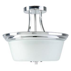 Markam Semi-Flushmount Light - Opal Glass - Chrome