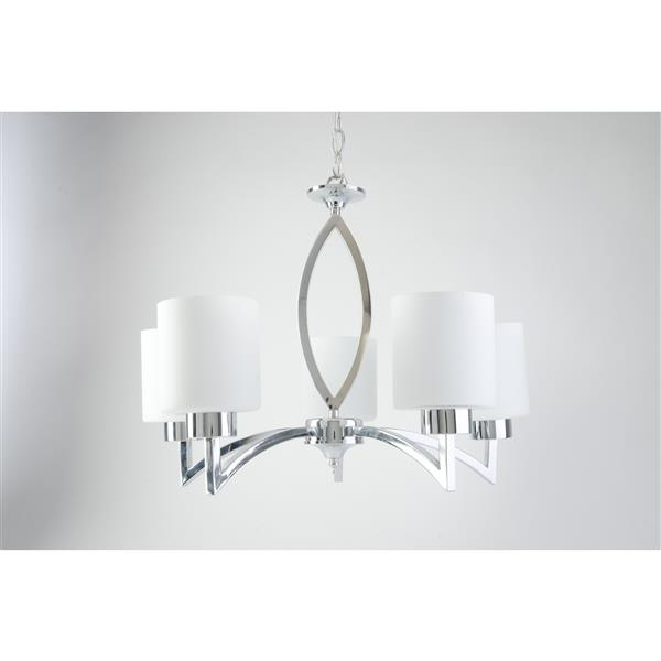 Chandelier Markam, 5 lumières, verre, chrome