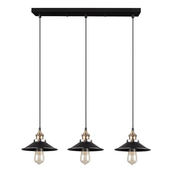 Luminaire suspendu Ezra, 3 lumières, métal, noir