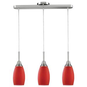 Luminaire suspendu Peak, 3 lumières, verre, rouge