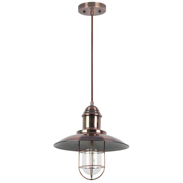 Luminaire suspendu Pompei, 1 lumière, métal, cuivré