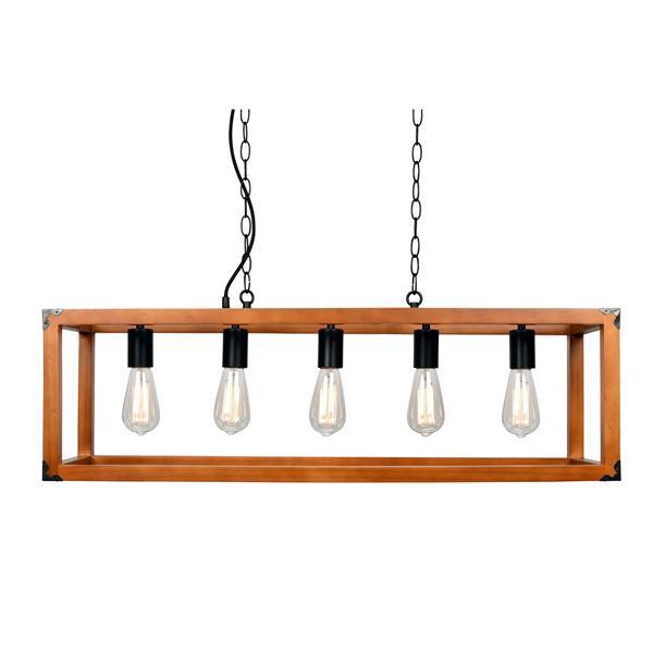 Chandelier suspendu Detroit, 5 lumières, bois, brun