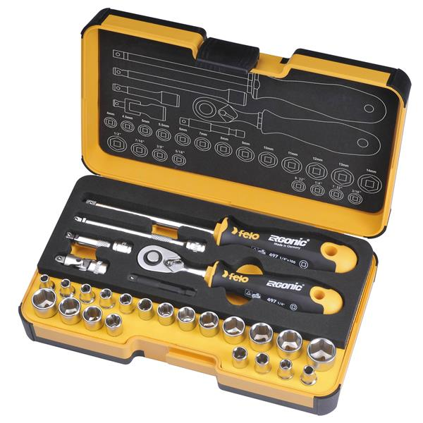 Stubby Ergonic® Standard/Metric Ratchet Set - 27-Piece