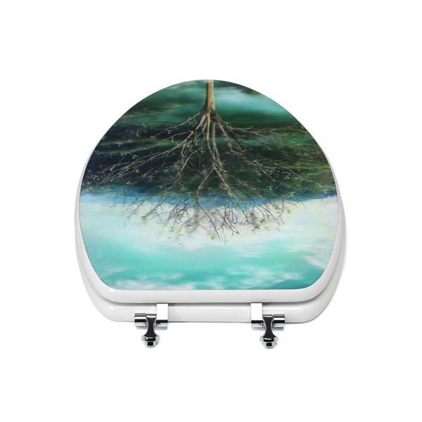Siège de toilette avec hologramme 3D, allongé, arbre