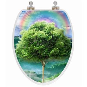 Toilet Seat with 3D Image Hologram - Elongated - Tree