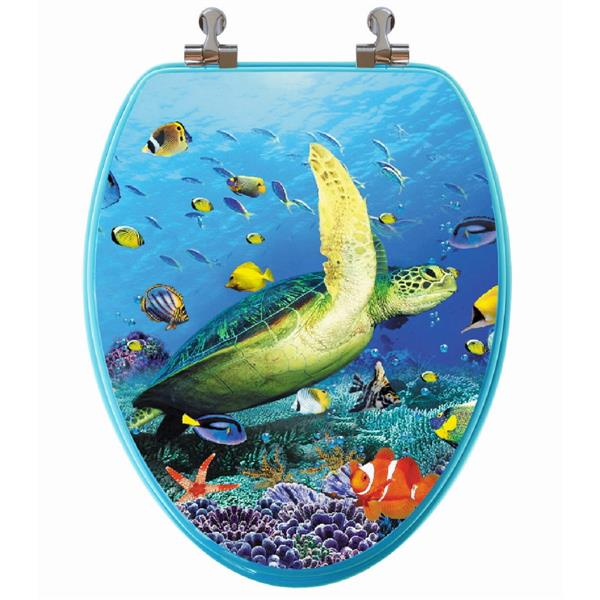 Topseat Toilet Seat with High Res 3D Image - Elongated - Sea Turtle