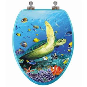 Siège de toilette avec image 3D, allongé, tortue