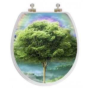 Siège de toilette avec hologramme 3D, rond, arbre