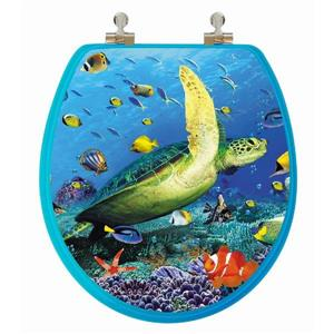 Toilet Seat with High Res 3D Image - Round - Sea Turtle