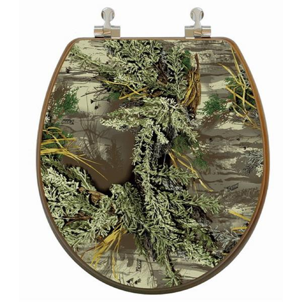 Siège de toilette avec image 3D, rond, camouflage