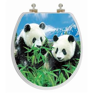 Toilet Seat with High Res 3D Image - Round - Pandas