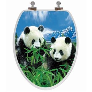 Toilet Seat with High Res 3D Image - Elongated - Pandas