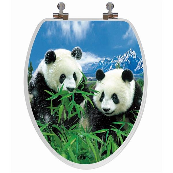 Siège de toilette avec image 3D, allongé, pandas