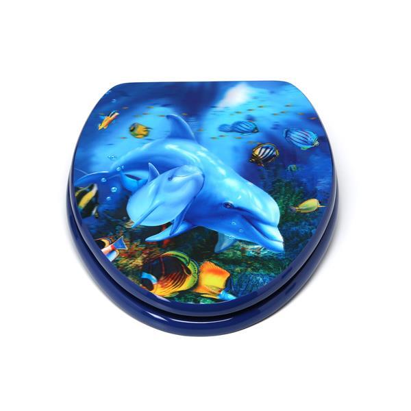 Siège de toilette avec image 3D, allongé, dauphins