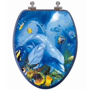 Toilet Seat with High Res 3D Image - Elongated - Dolphins