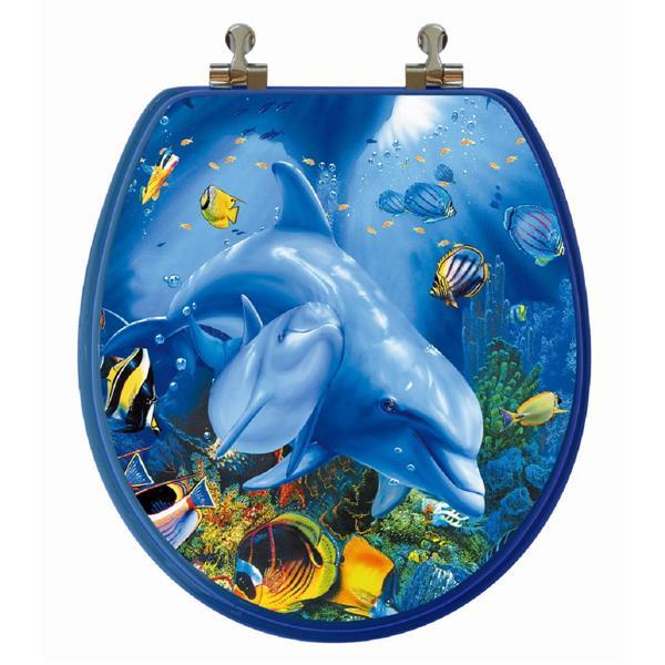 Siège de toilette avec image 3D, rond, dauphins