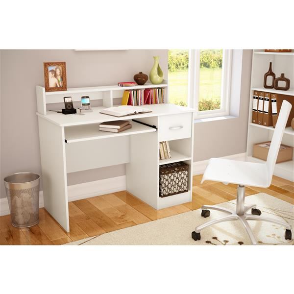 South Shore Furniture Axess Desk with Keyboard Tray - 41-in x 19-in x 37.75-in - White