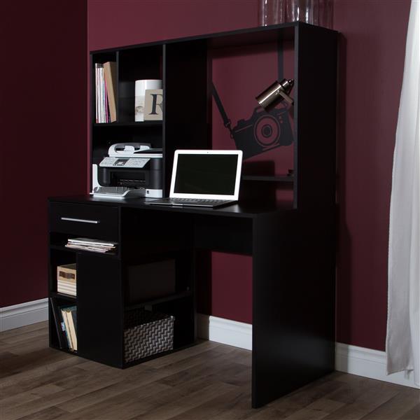 Bureau de travail pour ordinateur Annexe, noir