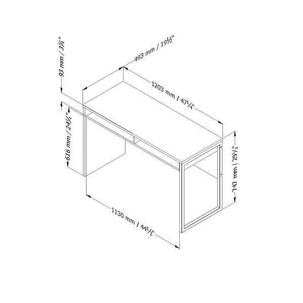 "Bureau de travail Interface, 47,4""x19,41""x29,5"", chêne gris"