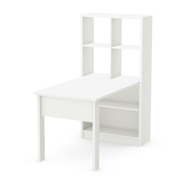 Ensemble table de travail et rangement Annexe, blanc