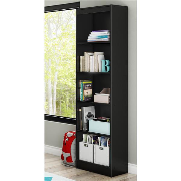 South Shore Furniture Axess 5-Shelf Narrow Bookcase - 19-in x 11.5-in x 68.75-in - Black