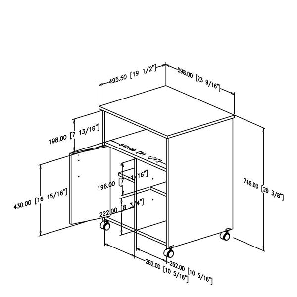 South Shore Furniture Axess Printer Cart - 23.5-in x 19.5-in x 29.37-in - Morgan Cherry