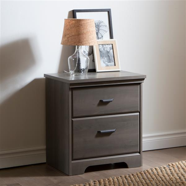 South Shore Furniture Versa 2-Drawer Nightstand - Gray Maple