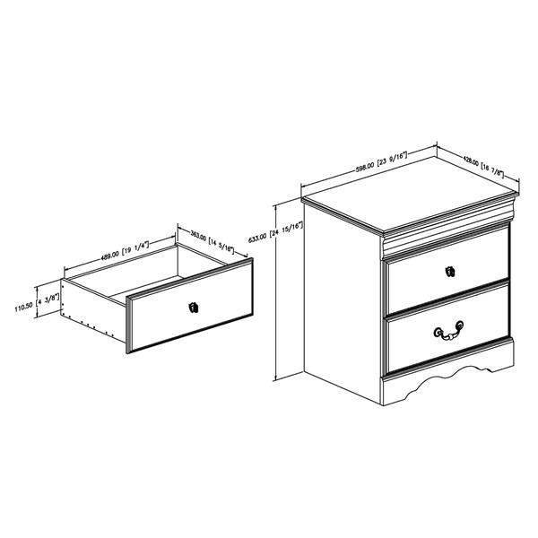 Table de chevet 2 tiroirs Vintage, acajou foncé