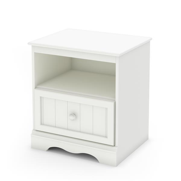 Table de chevet 1 tiroir Savannah, blanc