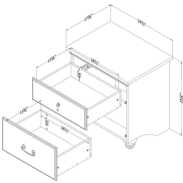 Table de chevet 2 tiroirs Noble, acajou foncé