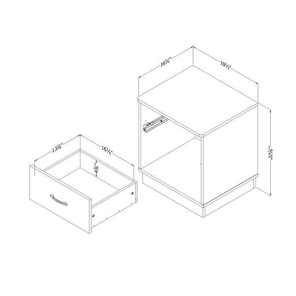 Table de chevet 2 tiroirs Logik, chocolat