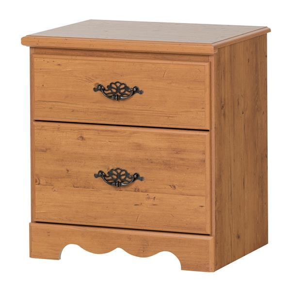 Table de chevet 2 tiroirs Prairie, pin rustique