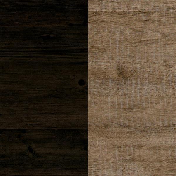 Table de chevet 2 tiroirs Valet, chêne vieilli et ébène