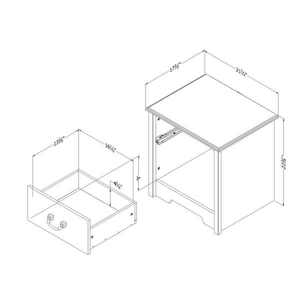 Table de chevet 1 tiroir Aviron, myrtille