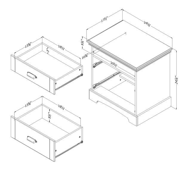 Table de chevet 2 tiroirs Avilla, chêne hivernal