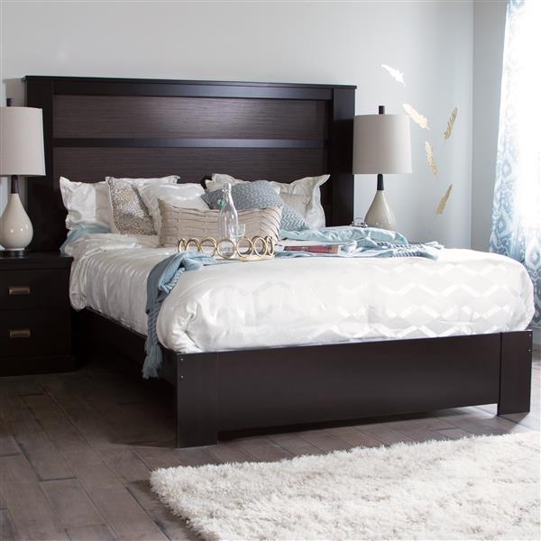 Tête de lit avec lumières Gloria, très grand, chocolat