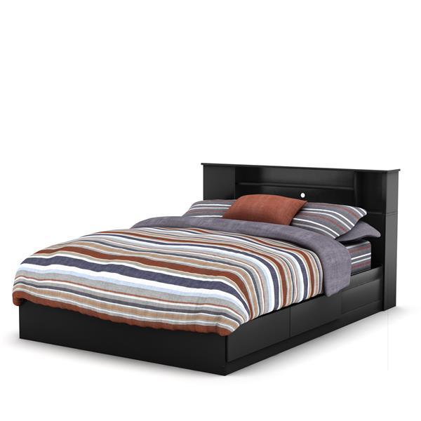 Tête de lit bibliothèque Vito, double/grand, noir