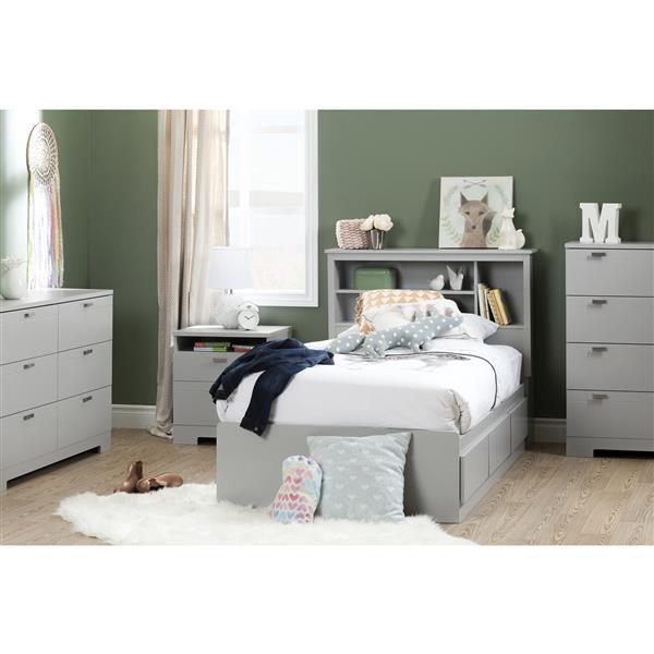 Tête de lit bibliothèque Reevo, simple, gris clair