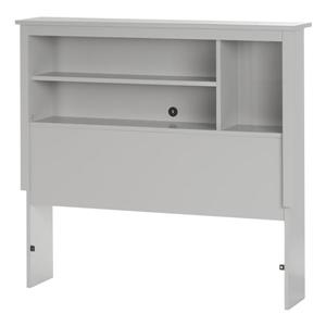 Reevo Bookcase Headboard - Twin - Soft Gray