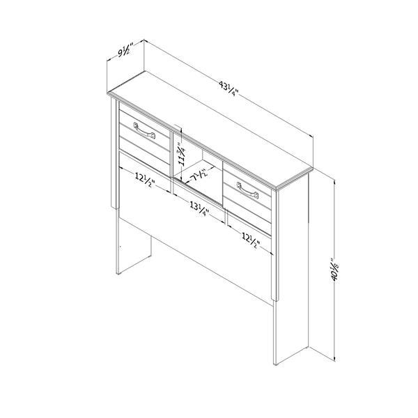 Tête de lit bibliothèque avec portes Ulysses, simple