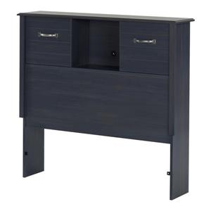 Ulysses Bookcase Headboard with Doors - Twin - Blueberry
