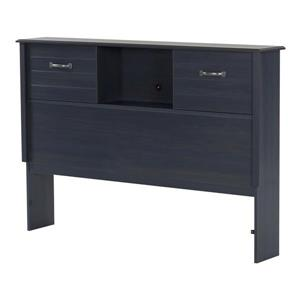 Ulysses Bookcase Headboard with Doors - Full - Blueberry