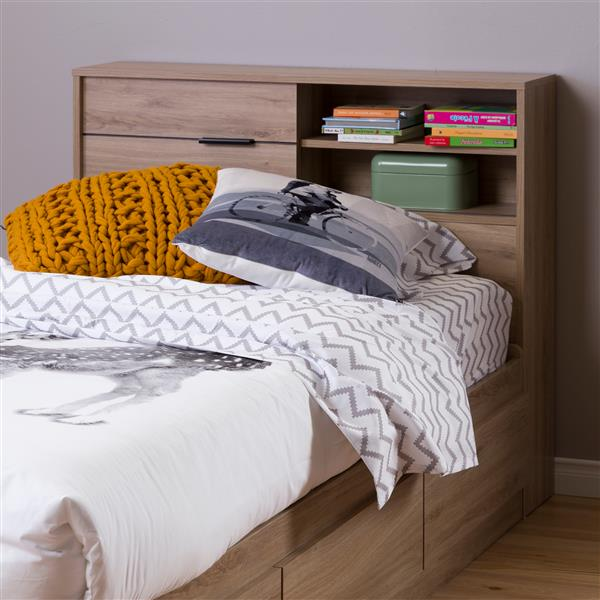 Tête de lit avec rangement Fynn, simple, chêne rustique